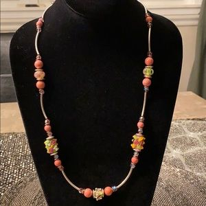 Jewelry - One of a kind glass beaded necklace/crystals